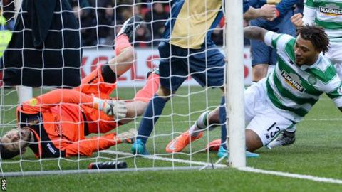 Colin Kazim-Richards prods home Celtic's second goal