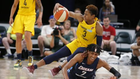 Indiana Fever guard Tiffany Mitchell (3) collides with Atlanta Dream guard Brittney Sykes (7) going for the loose ball during the game between the Atlanta Dream and Indiana Fever July 01, 2018, at Bankers Life Fieldhouse in Indianapolis, IN. The Atlanta Dream defeated the Indiana Fever 87-83. (Photo by Jeffrey Brown/Icon Sportswire via Getty Images)