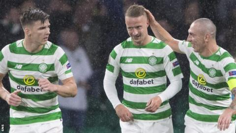 Celtic's Kieran Tierney, Leigh Griffiths and Scott Brown