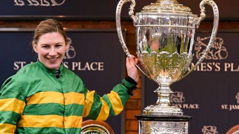 Nina Carberry with the Foxhunter Chase trophy at Cheltenham