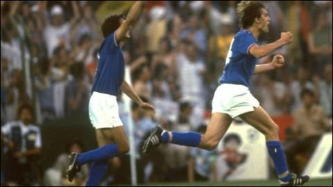 Italy's Marco Tardelli celebrates after scoring against West Germany in the 1982 World Cup final