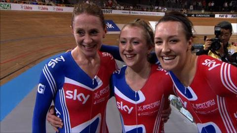 Great Britain's team pursuit team of Wendy Houvenaghel, Laura Trott and Dani King