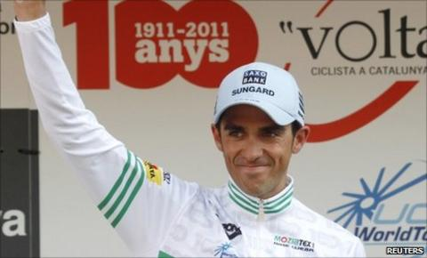 Alberto Contador celebrates his Tour of Catalunya win