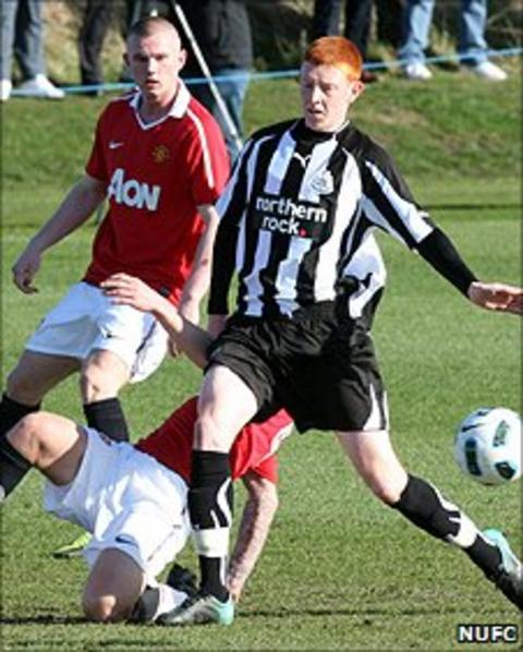 Michael Richardson playing for the reserves against Manchester United