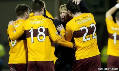 Motherwell manager Stuart McCall congratulates his players