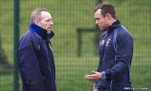 Kilmarnock caretaker manager Kenny Shiels and defender Ryan O'Leary