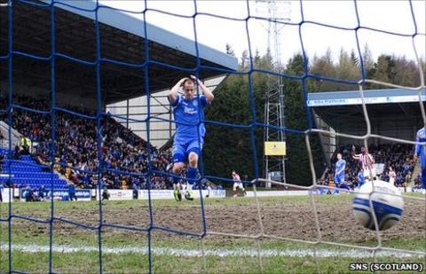St Johnstone defender Danny Grainger at Rangers' first goal