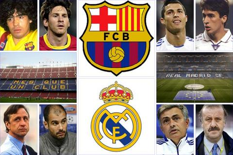 Clockwise, from top left: Barca's Diego Maradona and Lionel Messi; Real Madrid's Cristiano Ronaldo and Raul, the Bernabeu, Vicente del Bosque and Jose Mourinho; Barca boss Pep Guardiola, club legend Johan Cruyff and the Camp Nou