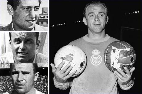 Left, top to bottom: Real Madrid legends Francisco Gento, Raymond Kopa and Ferenc Puskas. Main image: Alfredo di Stefano