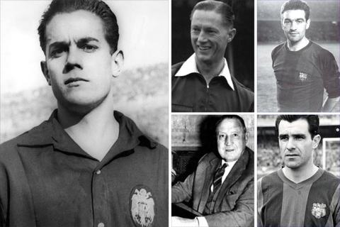 Clockwise from left: Barca's Luis Suarez; English referee Reg Leafe; Barca's second-leg scorers Marti Verges and Evaristo and Real president Santiago Bernabeu