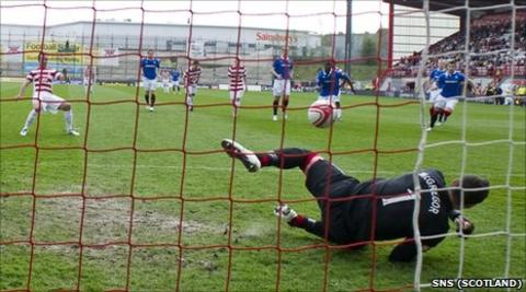 Dougie Imrie watches his penalty saved by Allan McGregor