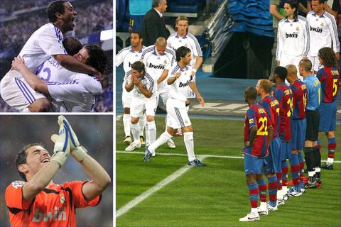 Real celebrate thrashing Barca 4-1 at the Bernabeu after the Barcelona players formed a guard of honour before kick-off
