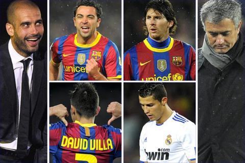 Barca coach Pep Guardiola celebrates along with Xavi, Lionel Messi and David Villa, but it was a bad night for Cristiano Ronaldo and Jose Mourinho