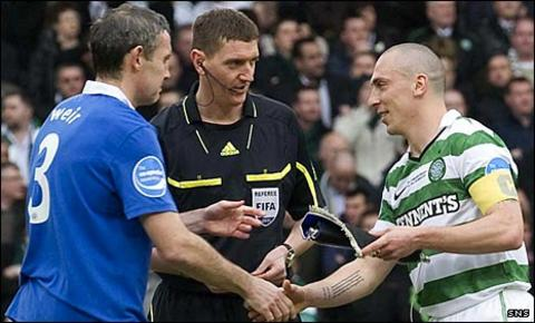 Rangers captain David Weir and Celtic counterpart Scott Brown