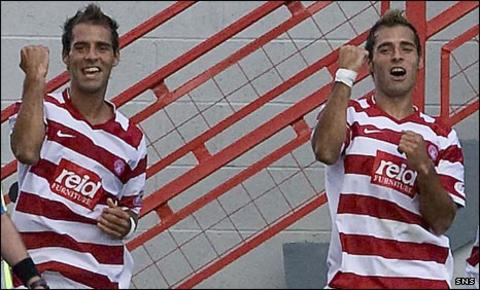 Marco and Flavio Paixao do a goal celebration dance