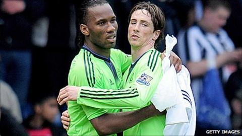 Chelsea strikers Didier Drogba (left) and Fernando Torres
