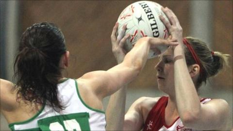 England's Joanne Hofen in possession against Ireland at the Antrim Forum