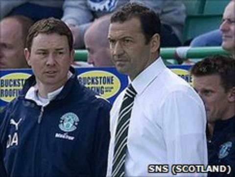 Hibs manager Colin Calderwood and assistant Derek Adams