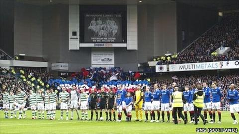 Rangers and Celtic line up before their Scottish Cup match in February