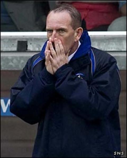 Kilmarnock caretaker Kenny Shiels looks concerned