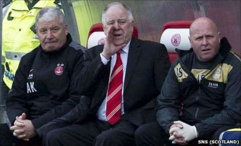 Aberdeen manager Craig Brown with his coaching staff