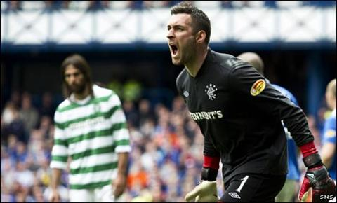Allan McGregor celebrates his penalty save against Celtic