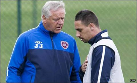 Jim Jefferies with Hearts winger Suso