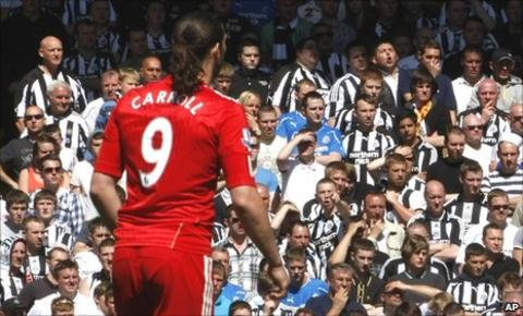 Andy Carroll in front of the Newcastle fans