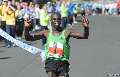 Kenya's Jacob Chesire ran a record time at the Belfast Marathon