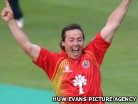Essex's Graham Napier celebrates taking another Glamorgan wicket