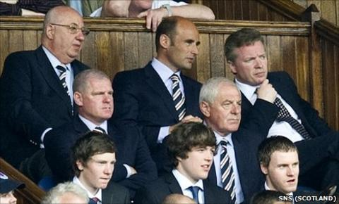 The directors' box at Ibrox with new owner Craig Whyte sitting just above manager Walter Smith