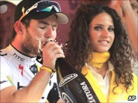 Cavendish sips champagne