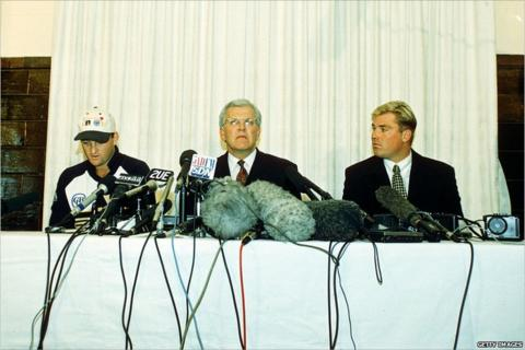 From left: Mark Waugh, then Australia Cricket Board chief executive Malcolm Speed, Shane Warne