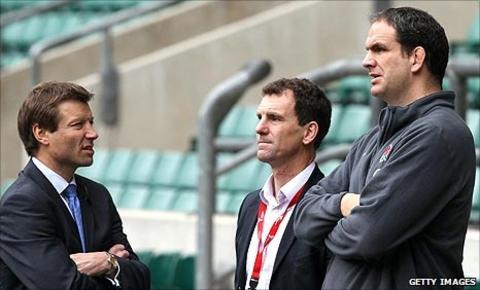 Rob Andrew, John Steele and Martin Johnson
