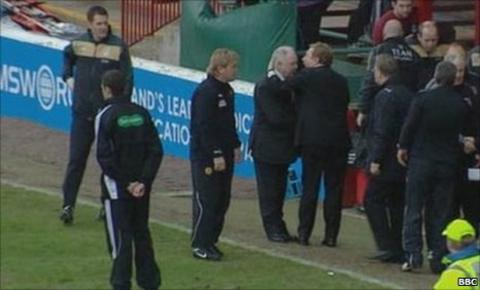 Brown had an altercation with his former boss at Fir Park, Well chairman John Boyle