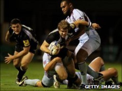 Newcastle Falcons players against Bourgoin