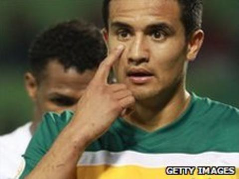 Everton midfielder Tim Cahill is one of Australia's Europe-based stars