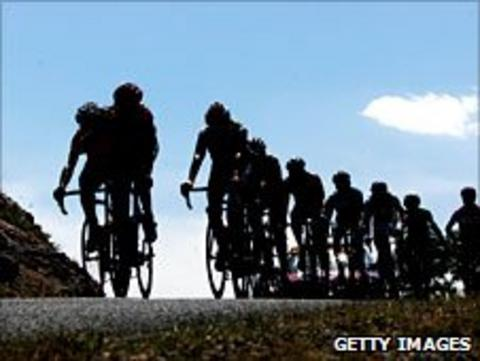 Riders compete in the Tour de France