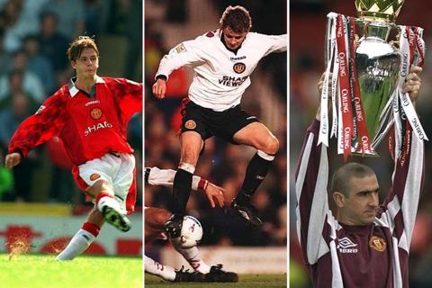 David Beckham, Ole Gunnar Solskjaer, and Eric Cantona