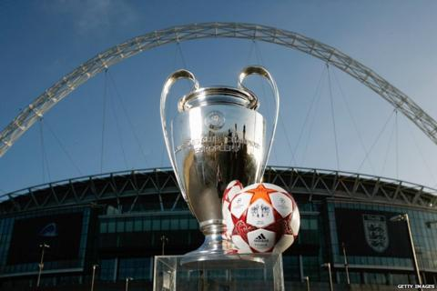 The Champions League trophy with the official match ball outside Wembley