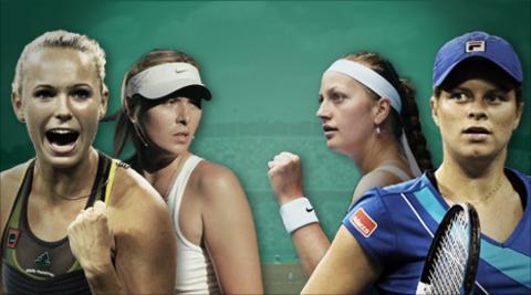 Caroline Wozniacki, Maria Sharapova, Petra Kvitova and Kim Clijsters