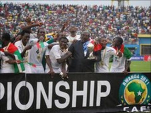 Burkina Faso celebrate winning the African Under-17 Championships