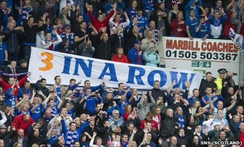 Rangers fans celebrating at Rugby Park on Sunday
