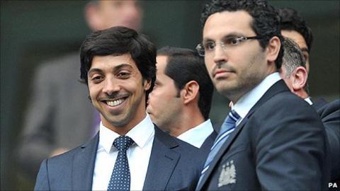 Manchester City owner Sheikh Mansour (left) chairman Khaldoon al-Mubarak