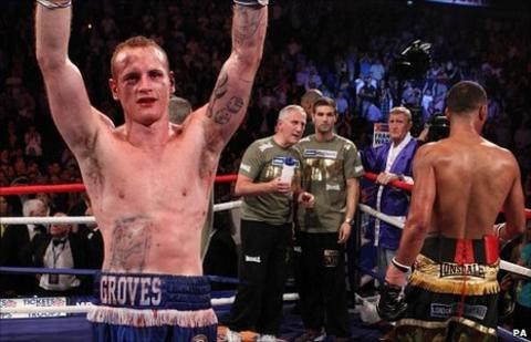 Groves celebrates his victory over DeGale
