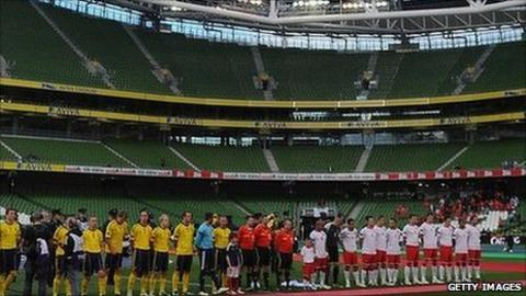 Wales and Scotland line up at a sparsely-attended Aviva Stadium in Dublin for their Nation's Cup clash