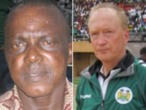 Sierra Leone coach Lars Olof Mattsson (r) and his assistant Christian Cole