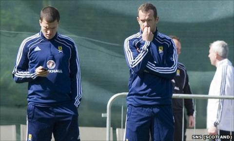 Gary Caldwell and Charlie Adam