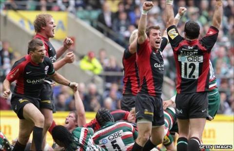 Saracens celebrate Premiership victory