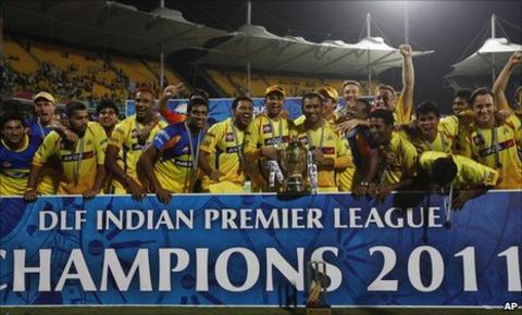 Chennai Super Kings celebrate with the IPL trophy